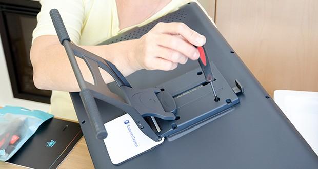 Huion Grafiktablett Kamvas 22 im Test - die verstellbare Halterung auf der Rückseite ist mit metallisch grauer, exquisiter und zarter Textur gestaltet