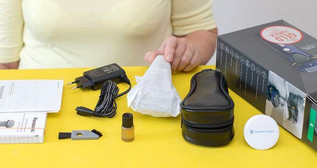 Panasonic ES-LV67-A803 Nass/Trocken-Rasierer im Test - Lieferumfang: 1 x Panasonic Nass/Trocken Rasierer ES-LV67, 1 x Netzteil, 1 x Reiseetui, 1 x Reinigungsbürste, 1 x Ol