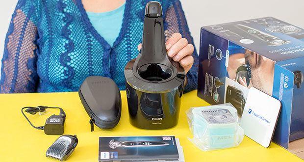 Philips S9711/31 Elektrischer Nass-und Trockenrasierer im Test - Lieferumfang: Rasierer, aufsteckbarer Bartstyler, Reinigungssystem SmartClean Plus inkl. Reinigungskartusche, Reiseetui