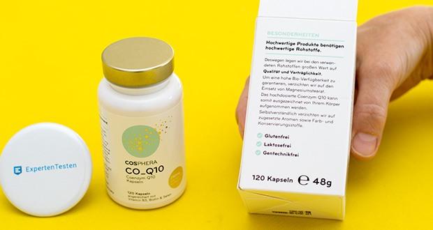 Cosphera Coenzym Q10 Kapseln im Test - aufgrund optimal abgestimmten Kombination sind sie bekannt als Anti-Aging und Energie-Kapseln