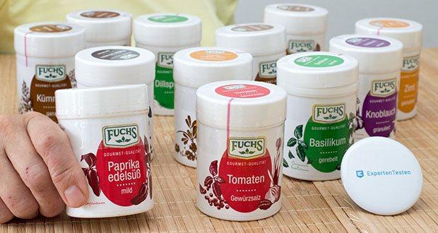 Fuchs 12er Gewürz-Sortiment im Test - Zutaten Tomaten Würzsalz: Speisesalz, Gewürzmischung für Tomaten (Paprika, Pfeffer, Zwiebeln, Basilikum, Petersilie, Pastinaken), Zucker, Aroma; Zutaten Paprika edelsüss gemahlen: Paprika
