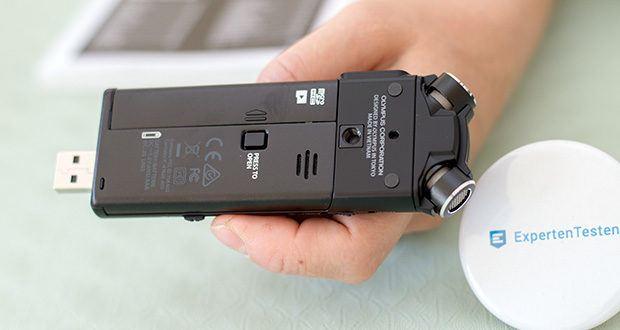 Olympus LS-P4 Hi-Res Audiorekorder im Test - 8 GB integrierter Speicher für bis zu 253 Stunden Aufnahmezeit. Unterstützt microSD-Karten mit einer Kapazität von bis zu 32 GB