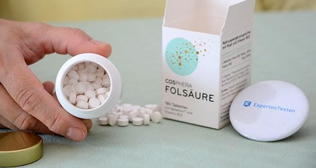 Cosphera Folsäure Tabletten im Test - hochdosierter, natürlicher, stabiler Wirkstoff-Komplex aus Folsäure und Vitamin B12
