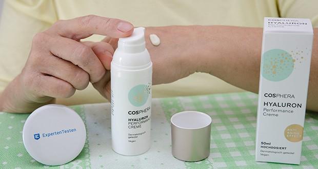 """Cosphera Hyaluron Performance Creme im Test - dermatologischer Test und Inhaltsstoffanalyse mit der Bestnote """"Sehr gut"""""""