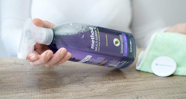 Methode Allzweck-Oberflächenreiniger Lavendel im Test - einfach aufsprühen und mit einem feuchten Tuch abwischen