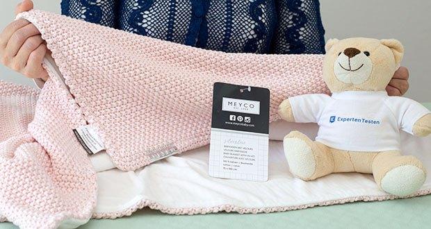 Meyco gestrickte Babydecke Winter im Test - Pflege: maschinenwaschbar bei 30 Grad - trocknergeeignet und bügelfrei
