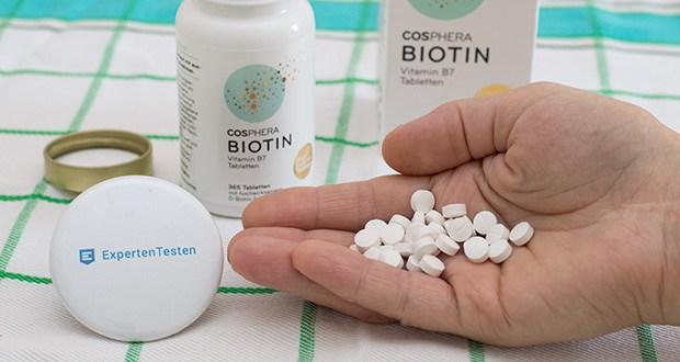 Cosphera Biotin Tabletten im Test - jede Tablette enthält 10000 µg (10 mg) D-Biotin