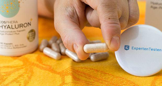 Cosphera Hyaluronsäure Kapseln im Test - jede Kapsel enthält 500 mg mikro-molekulare Hyaluronsäure