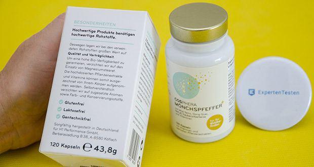 Cosphera Mönchspfeffer Kapseln im Test - ist besonders reich an hoch bioverfügbarem Eisen, B6, B12 und fünf bewährten Frauenkräuter-Extrakten mit hochdosiertem Mönchspfeffer in idealer Synergie