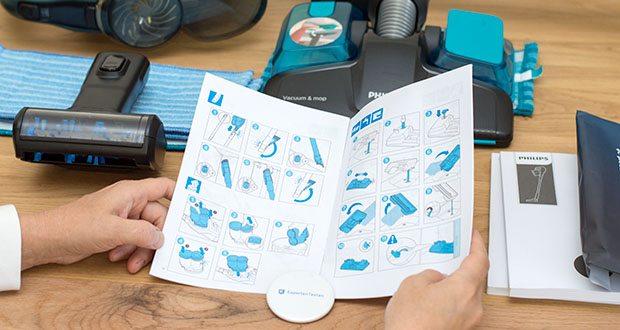 Philips XC8147/01 SpeedPro Max Aqua Staubsauger mit Wischfunktion im Test - ermöglicht einen niedrigen Winkel und geht völlig flach auf den Boden, um unter flache Möbel zu gelangen