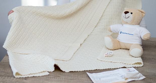 Sonnenstrick Babydecke im Test - sieht auch nach häufigem Waschen aus wie neu, ohne Verzug