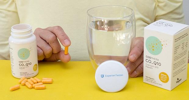 Cosphera Coenzym Q10 Kapseln im Test - Verzehrempfehlung: 1 Kapsel täglich mit ausreichend Flüssigkeit einnehmen