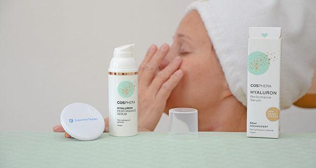 Cosphera Hyaluron Performance Serum im Test - es spendet Feuchtigkeit und durch die hochdosierten Wirkstoffe hilft dieses Faltenserum dabei, Ihr Hautbild zu verbessern und zu verfeiern