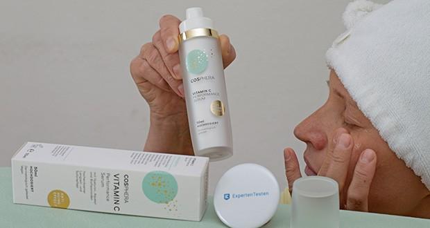 Cosphera Vitamin C Performance Serum im Test - es spendet Feuchtigkeit und durch die hochdosierten Wirkstoffe hilft dieses Faltenserum dabei, Ihr Hautbild zu verbessern und zu verfeiern