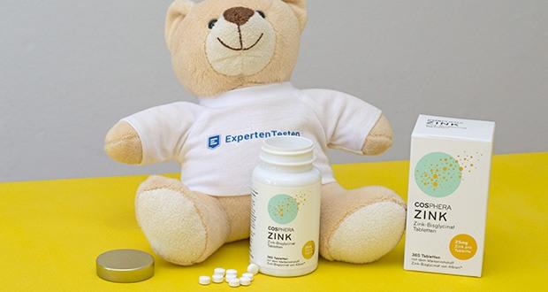 Cosphera Zink-Bisglycinat Tabletten im Test - verfügt über eine sehr hohe Bioverfügbarkeit (ca. 40% höher als Zink-Gluconat) und ist als Chelat-Komplex besonders gut verträglich