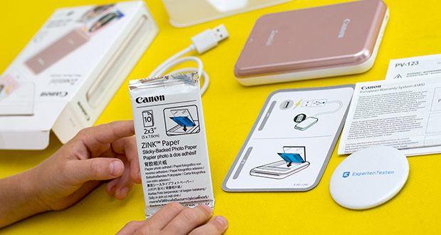 Canon Zoemini Mini Fotodrucker im Test - liegt bei Auslieferung ein Starter-Paket mit 10 Blatt bei