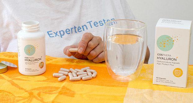 Cosphera Hyaluronsäure Kapseln im Test - Gebrauchsanweisung: Verzehrempfehlung: 1 Kapsel täglich mit ausreichend Flüssigkeit einnehmen