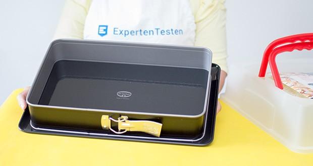 Dr. Oetker Rechteck-Springform mit Haube im Test - Schnitt- und Kratzfester Emaille-Boden