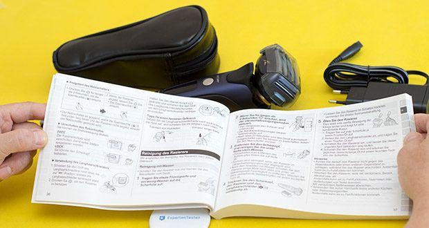 Panasonic ES-LV67-A803 Nass/Trocken-Rasierer im Test - fünf Scherköpfe bestehend aus drei verschiedenen Scherfolien, erfassen lange und eng anliegende Haare in unterschiedlichen Wuchsrichtungen