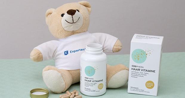 Cosphera Haar Vitamine im Test - enthält neben sieben B-Vitaminen, Vitamin C+E sowie Zink, Selen, Hirse Samen Extrakt, Grüner Tee Extrakt, L-Cystein und MSM