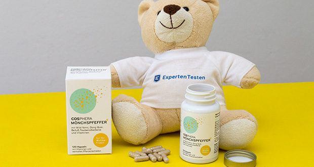 Cosphera Mönchspfeffer Kapseln im Test - für ein optimales Ergebnis mindestens 8 Wochen täglich einnehmen