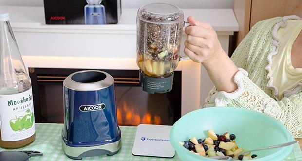 AICOOK Smoothie Maker im Test - speziell geformte Nährstoff-Extraktionsklingen mixen die härtesten Zutaten zu nahrhaften Shakes, Smoothies und Nussbutter