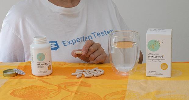 Cosphera Hyaluronsäure Kapseln im Test - enthält Hyaluronsäure, natürliches Vitamin C aus Hagebuttenextrakt, Vitamin B12, Citrus-Bioflavonoide, Grapefruit-Naringin und Zink