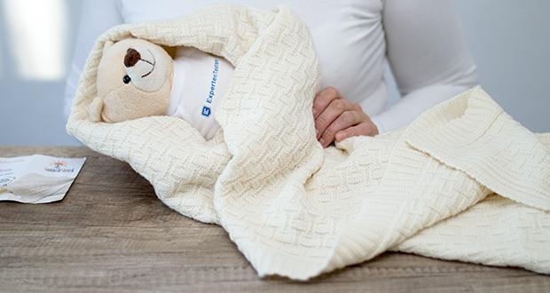 Sonnenstrick Babydecke im Test - für das gute Gefühl sorgt die Merino Schurwolle mit Öko Tex Zertifikat