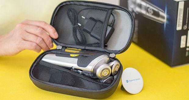 Philips SP9820/18 Elektrischer Nass- und Trockenrasierer im Test - die Premium Reisetasche schützt den Rasierer und das Rasierzubehör und auch unterwegs