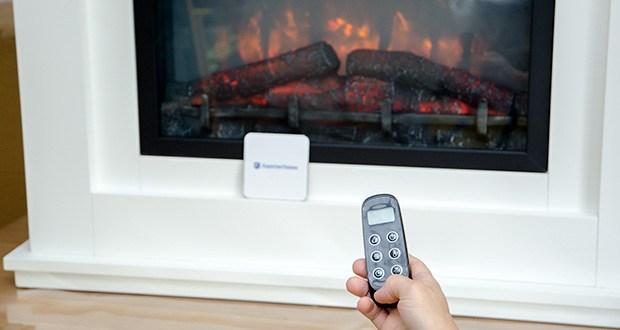 RICHEN Elektrischer Standkamin Baldur EF119B-MT119A im Test - der LED Flammeneffekt kann vierfach über die Fernbedienung eigenhändig auf Intensität und Helligkeit eingestellt werden