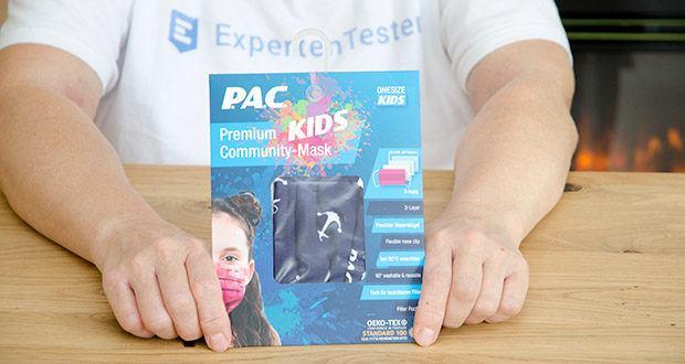 P.A.C. Premium Community Maske Kids im Test - Innenseite: 95% Baumwolle / 5% Elasthan / Außenseite: 100% Polyester