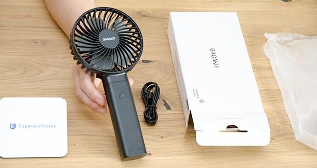 GAGAKU Mini Akku Handventilator im Test - Packungsinhalt: 1× Lüfter, 1× 80cm USB Kabel, 1× Benutzerhandbuch