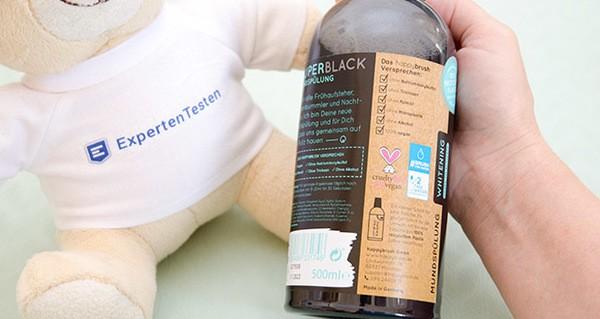 happybrush Mundspülung SUPERBLACK im Test - ohne bedenkliche Inhaltsstoffe: ohne Natriumlaurylsulfat, ohne Palmöl, ohne Triclosan