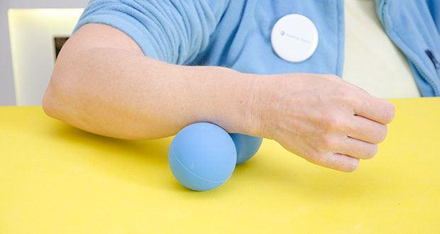 Zen Core Massage Duoball im Test - lässt sich z. B. bei der Physiotherapie, der Faszienmassage, der Triggerpunktmassage oder zu Hause zur Selbstmassage um zu entspannen ideal einsetzen