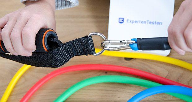 himaly Gymnastikband Set im Test - Metallhaken sorgt für stabile Verbindung und doppelter Latexüberzug für doppelte Versicherung