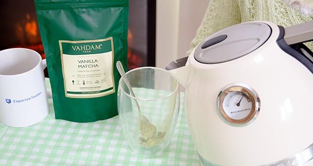 VAHDAM Vanille Matcha Grüntee Pulver im Test - Matcha-Grüntee ist reich an Antioxidantien, unterstützt den Metabolismus, natürliche Energiequelle, reich an Katechinen, Vitaminen und Mineralstoffen