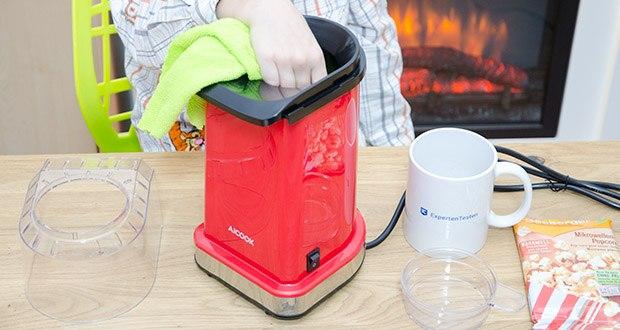 Aicook Popcornmaschine 1400W im Test - leicht zu reinigen mit einem Tuch oder Papier