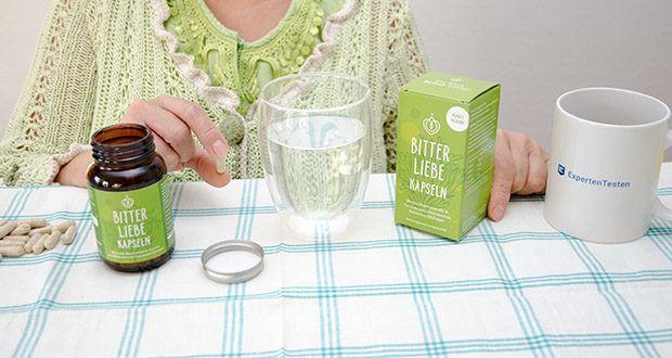 BitterLiebe Kapseln 90 Stk im Test - Verzehrsempfehlung: 3 mal täglich je 1 Kapsel mit ausreichend Wasser zu den Mahlzeiten einnehmen