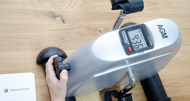himaly Minibike Handergometer im Test - mit dem einstellbaren Widerstand können Sie verschiedene Stufen für verschiedene Gruppen einstellen