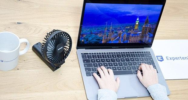 GAGAKU Mini Akku Handventilator im Test - Sie können die Windgeschwindigkeiten in 4 verschiedenen Modi einstellen, indem sie den Netzschalter nur wiederholt drücken