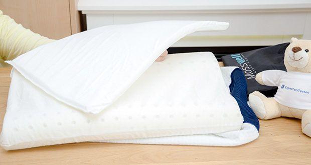 Mosswell ergonomisches Nackenstützkissen im Test - entfernen Sie einfach die Basiserhöhung, um ein niedrigeres ergonomisches Kissen zu erhalten