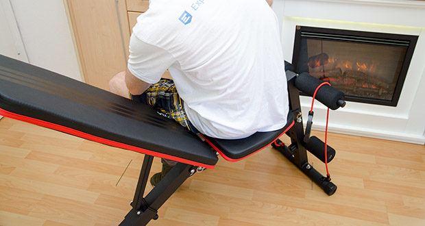 Bigzzia verstellbare Hantelbank im Test - verfügt über ein weiches Leder, das mit einer dichten Schaumstoffpolsterung gefüllt ist, so dass alle Übungen bequem durchgeführt werden können