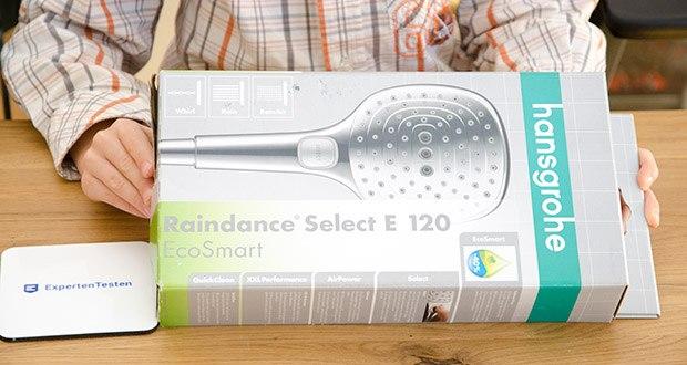 hansgrohe Raindance Select E 120 Duschkopf im Test - großes Duschvergnügen auf Knopfdruck – mit drei Strahlarten