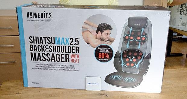 HoMedics Shiatsu MAX 2.0 Rücken- und Schultermassagegerät im Test - Massagezonen: Gesamter, oberer oder unterer Rücken mit extra breiter Massagefläche