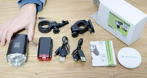 Chilitec Fahrrad LED-Beleuchtungsset CFL 30 pro im Test - incl. 1x Frontlicht, 1x Rücklicht, 2x Halterungen, 2x USB Ladekabel, 1x Anleitung