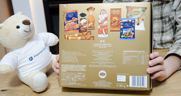 Lindt Weihnachtliche Kostbarkeiten Schokoladengeschenk im Test - Bestandteile: Zucker, Kakaobutter, Vollmilchpulver, Kakaomasse, pflanzliches Fett (Kokosnuss, Palm, Palmkern, Sonnenblume), Haselnüsse, Milchzucker, Mandeln, Magermilchpulver, Traubenzucker, Emulgator (Sojalecithin), Butterreinfett, Gerstenmalzextrakt, Weizenstärke, Aromen, Invertzucker, Gewürzextrakte