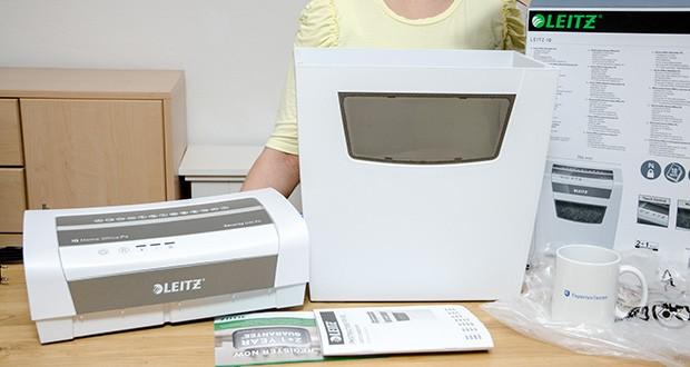 Leitz IQ Home Office Aktenvernichter im Test - Lieferumfang: 1x Leitz IQ Home Office Aktenvernichter, Sicherheitsstufe P4, Partikelschnitt