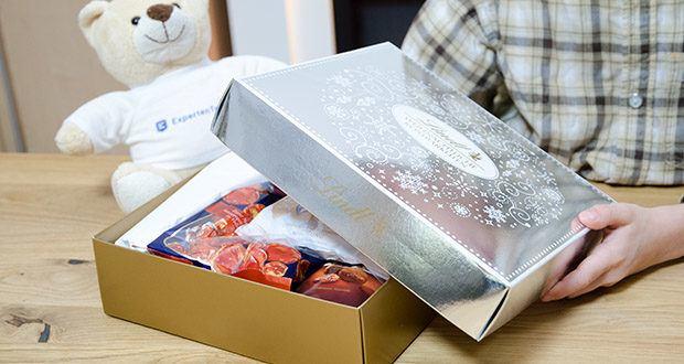 Lindt Weihnachtliche Kostbarkeiten Schokoladengeschenk im Test - alles in einer weihnachtlichen Geschenkverpackung in Silber