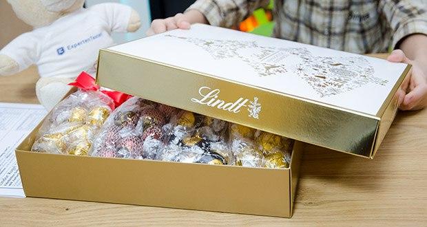 Lindt Weihnachts-Schokolade Schokoladengeschenk Gold im Test - in einer edlen Weihnachtsverpackung