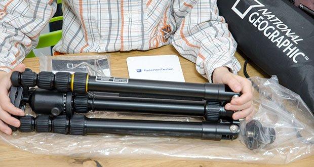 National Geographic Foto-Reisestativ-Set im Test - eignet sich für kompakte Systemkameras, spiegellose sowie DSLR-Kameras und trägt bis zu 8 kg